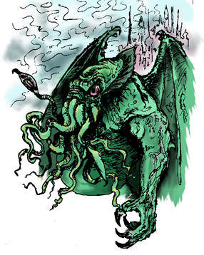 Cthulhu drawn by the Conlanging Librarian